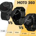 Motorola Moto 360 (1st gen) vs Moto 360 (2nd gen) 42mm vs Moto 360 (2nd gen) 46mm